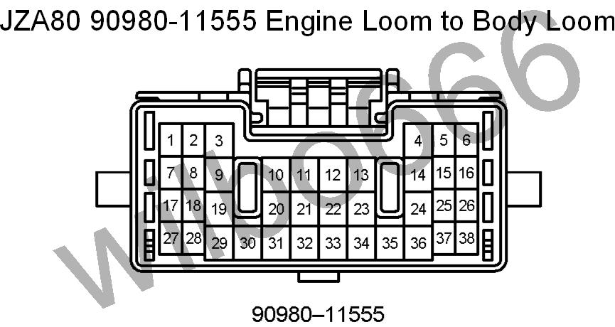 wilbo jz ge jza supra engine wiring jza80 toyota supra 2jz ge 90980 11555 engine loom to body loom plug orange