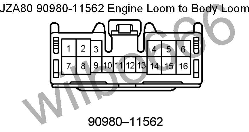 wilbo jz ge jza supra engine wiring jza80 toyota supra 2jz ge 90980 11562 engine loom to body loom plug white