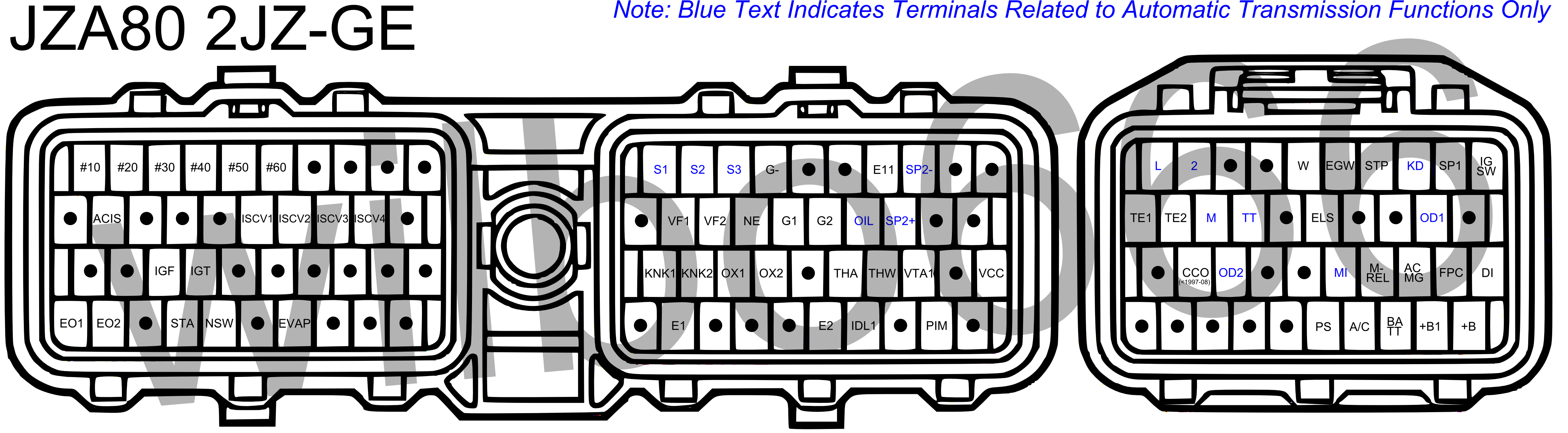 Note: Blue text indicates terminals related to automatic transmission  functions only.