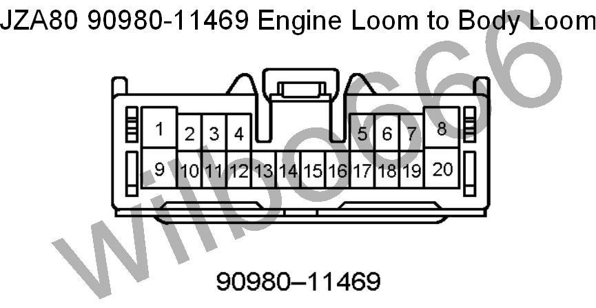 wilbo jz ge jza supra engine wiring jza80 toyota supra 2jz ge 90980 11469 engine loom to body loom plug grey